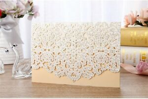 Laser Cut Printing Personalized Wedding Invitation Card Party Floral Lace Seals