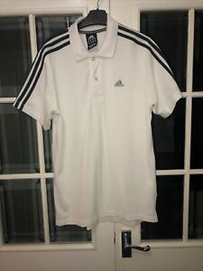Adidas Mens Polo Shirt White Medium Climalite Cotton