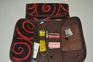 SEWING TRAVEL CASE - scissors, cottons, needles, safety pins, tape measure