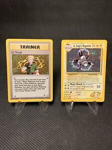 Lt. Surge Trainer Holo and Magneton Holo Pokémon Cards SWIRLS LP/MP+