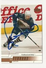 00/01 Upper Deck Autographed Hockey Card Ray Ferraro Atlanta Thrashers