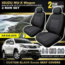 ISUZU MU-X BLACK Custom Made Seat Covers 3 ROWS 9/2013-2018 LS-U LS-T LS-M MUX