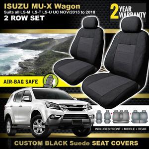 ISUZU MU-X BLACK Custom Made Seat Covers 3 ROWS 9/2013-7/2021 LS-U  LS-M MUX
