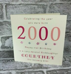 """21st 2000 Year You Were Born 6"""" Birthday Card Personalised Daughter Mummy Niece"""