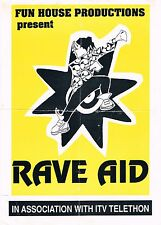 RAVE AID Rave Flyer Flyers 28/5/90 A5 Laser Dome Longton Stoke on Trent