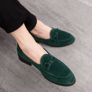 Chic Mens Pumps Pointy Toe Suede Leather Business Loafers Wedding Club Shoes Sz