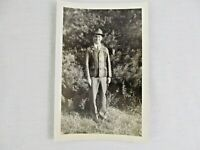 Vintage Black & White Snapshot Man Leather Jacket Hat Standing B&W Photograph