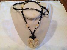 VTg Carved Tulip Flower Asian Hindu 8 Arm Goddess Pendant Crochetted  Necklace
