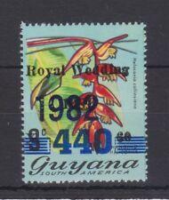 1981 Royal Wedding Charles & Diana MNH Stamp Set Guyana oblit bars 1982 opt