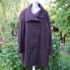 Manteau veste Femme Grande Taille 58 60 Rouge prune laine Palmyre ZAZA2CATS new