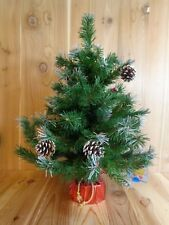 "Mini Christmas Tree 26"" Green Artificial Frosted Tips Pine Cones Berries"