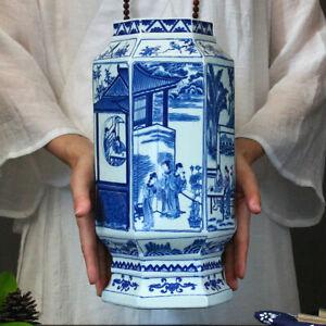 Jingdezhen blue and white ceramics Vase Qing QianLong Antique reproduction