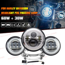 "Halo 7"" LED Daymaker Headlight Passing Lights For Harley Softail Heritage Deluxe"