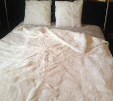 Genuine rabbit fur double sided blanket/throw, and 2 double sided pillow cases