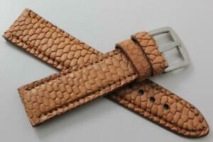 Handmade Genuine Tan Beaver Tail Leather Watch Strap  (Made in U.S.A)