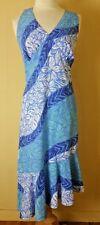 Vtg Carol Bennett Hawaii Halter Dress Size M Blue Asymmetrical Hem