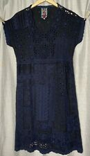 Johnny Was Black Tonal Eyelet Floral Embroidered Rayon Dress XS Boho Chic