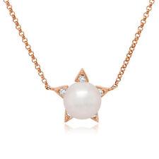 0.05CT 14K Oro Rosa Natural Perlas de Agua Dulce Diamante Star Colgante Collar