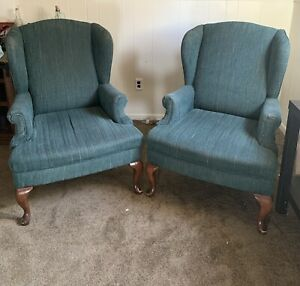 Pair Of Queen Anne Mahogany Wing Back Chairs Upholstered Green/blue Fabric
