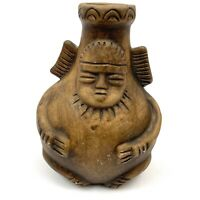 Vintage Bud Vase Colombia Art Pottery Signed Brown Deity Face 5""