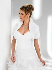 NEW WOMEN WEDDING FAUX FUR SHRUG BOLERO JACKET SHORT SLEEVE - XS S M L XL XXL