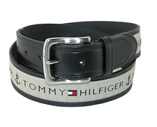 *NWT* Tommy Hilfiger Men's Leather Casual Belt with Fabric Inlay - Black