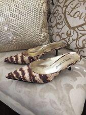 DOLCE GABBANA Women's Brown/Cream Kitten Heel Animal Print Shoes Size 4