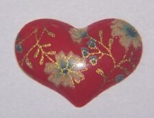 VTG Red Floral HEART Cameo Cabochon Floral Porcelain Decal  20x15mm Flatback