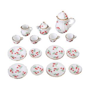 15pcs Dollhouse Miniature Dining Ware Porcelain Tea Set Dish Cup Red Cherry