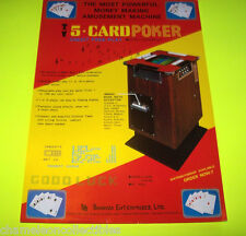 5 CARD POKER By BONANZA ENT. ORIGINAL VIDEO ARCADE GAME SALES FLYER BROCHURE