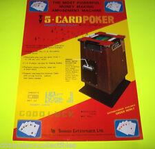 5 CARD POKER By BONANZA ENT. ORIGINAL VIDEO ARCADE GAME SALES FLYER BROCHURE