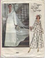 Vogue Pattern 1487 Vogue's Bridal Design Wedding Dress Slip Chapel Veil Size 14