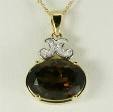 6.11ct Smoky Quartz & Diamond 9ct Solid Gold Pendant Free Shipping 30d Refunds