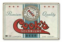"""COOK'S GOLDBLUME BEER EVANSVILLE INDIANA 18"""" HEAVY DUTY USA MADE METAL ADV SIGN"""