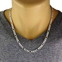 Men's 925 Sterling Silver Figaro Chain Necklace 150 Gauge 6 mm - Made in Italy