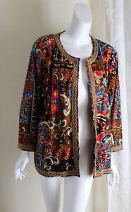 Joan Rivers -Sz 2X Funky Art-to-Wear Paisley Open Jacket Blazer
