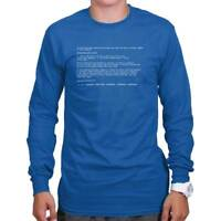 Blue Screen Of Death Funny Computer Nerd Geek Long Sleeve Tees Shirts T-Shirts