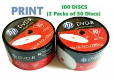100 HP DVD-R DVD 16X White Inkjet Printable Blank Media Print 4.7GB / 120Min
