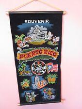 """PUERTO RICO black velvet Souvenir Tapestry 13"""" x 23"""" Hand Painted Wall Art Vtg."""