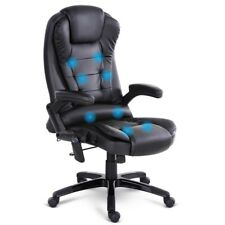 Office Chair 8 Point Massage Executive Computer Heated Recliner PU Leather Black
