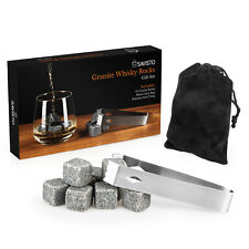 Savisto Granite Whisky Stones Gift Set, 10 Reusable Ice Cube Whiskey Drink Rocks