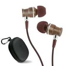 Earphones Wood In Ear Headphones Stereo Bass Noise-isolating with Mic (Brown)