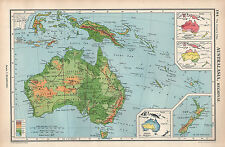 1952 MAP ~ AUSTRALASIA REGIONAL PHYSICAL ANNUAL RAINFALL NEW ZEALAND