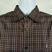 Nordstrom Wrinkle Free Mens Dark Brown Blue Check Plaid Dress Button Shirt M