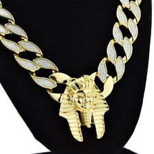 "Pharaoh King Sand Blast Bling Cuban Chain Gold Tone 18MM x 30"" Hip Hop Necklace"