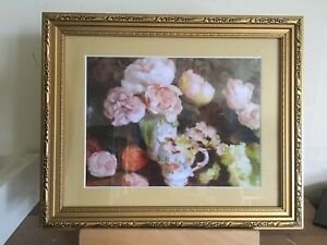 """Vintage/country Style Floral/teacup Picture In A Decorative Gold Frame 11x9"""""""
