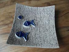 große Keramik handgetöpfert Schale Fisch Obstschale Fischland 22,5 x 22,5