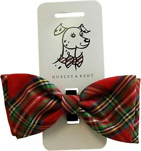 Huxley & Kent Red Plaid Tie Dog Collar Attachment (Bow Tie, Small)
