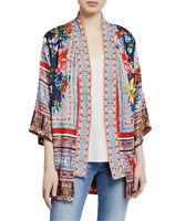 💖NWT! Johnny Was BERNIE Scarf Print EMBROIDERED Jacket Kimono Cardigan M $378💖
