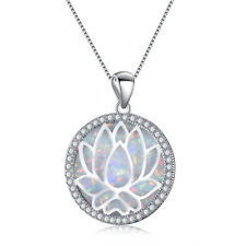 Beautiful Round White Fire Opal 925 Silver Hollow Lotus Chain Pendant Necklace